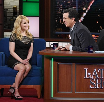 "Melissa Rauch from the CBS comedy series ""The Big Bang Theory"" on The Late Show with Stephen Colbert, Thursday March 17, 2016 on the CBS Television Network. Photo: Jeffrey R. Staab/CBS ©2016 CBS Broadcasting Inc. All Rights Reserved"