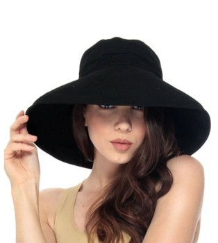 Simplicity® Women's Summer Solid Colored Cotton Bucket Hat with Big Fold-up Brim - Amazon.com