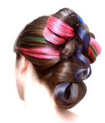 Multi-colored Brunette Updo On Long Hair