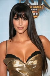 Kim Kardashian With Long Fringe
