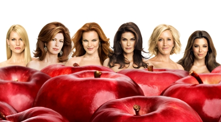 Image of ABC's Desperate Housewives - Left to Right - Nicolette Sheridan as Edie Brit, Dana Delaney as Katherine Mayfair, Marcia Cross as Bree Hodge, Teri Hatcher as Susan Mayer, Felicity Huffman as Lynette Scavo and Eva Longoria Parker as Gaby Solis - ABC.com - All Rights Reserved