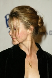 Keri Russell With Curls Pulled Into Ballerina Style Bun
