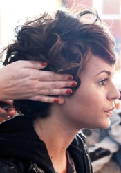 Hair Being Styled At The Hair Salon By A Stylist - HB Media - All Rights Reserved