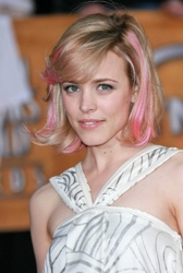 Rachel McAdams With Medium Length Pink Highlighted Bob