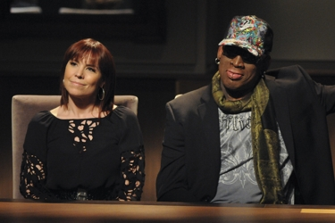 Professional Poker Player Annie Duke and Former Professional Basketball Player - Dennis Rodman - NBC Photo - Ali Goldstein - All Rights Reserved
