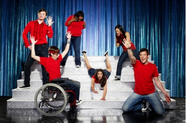 Chris Colfer, Amber Riley, Lea Michele, Jenna Ushkowitz, Cory Monteith and Kevin McHale On Glee