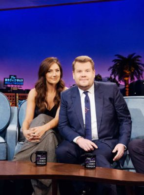 George Papanikolas Celebrity Haircolor Guru - Minka Kelly on The Late Late Show with James Corden, Thursday, November 29, 2018 - Photo: Terence Patrick/CBS ©2018 CBS Broadcasting, Inc. All Rights Reserved