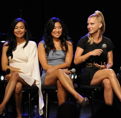 GLEE: Cast members (L-R): Amber Riley, Naya Rivera, Jenna Ushkowitz and Heather Morris answer questions at an evening of music and cocktails at The Music Box & Fonda Theater in Los Angeles, CA on Tuesday, July 27. Cr: Frank Micelotta/ FOX