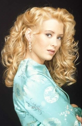 Model With Long Blonde Curly Hair