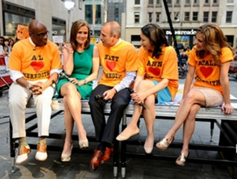 "NBC, ""Today"" show co-hosts Al Roker, Meredith Vieira, Matt Lauer, Ann Curry and Natalie Morales say goodbye to Vieira on her last day on the ""Today"" show, Wednesday, June 8, 2011, in New York. NBC, Peter Kramer - All Rights Reserved Matt Lauer, Ann Curry and Natalie Morales say goodbye to Vieira on her last day on the ""Today"" show, Wednesday, June 8, 2011, in New York. (AP Photo/NBC, Peter Kramer)"