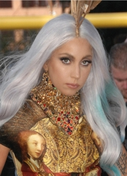 Lady Gaga With Turquoise Highlighted Long White Blonde Hair