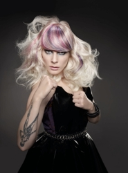 Model With Platinum Blonde Hair And Purple Highlights