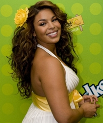 Jordin Sparks Natural Curls Adorned With Hair Flower