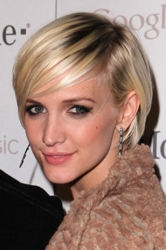 Ashlee Simpson Short Hairstyle - Platinum Blonde With Dark Roots