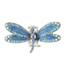Karen Marie Enamel And Crystal Encrusted Dragonfly Jaw In Aqua