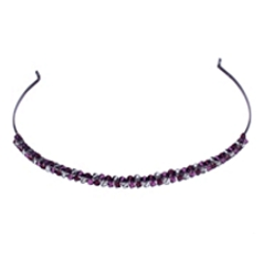 Colette Malouf Crystal Pomegranite Headband - Eggplant At HairBoutique.com