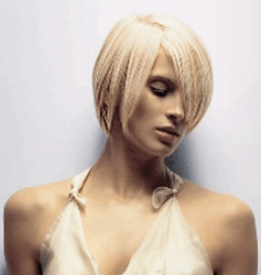 Platinun Blonde With Short Hair And Long Fringe