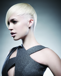 Short Platinum Blonde Hair With Shaved Side - All Rights JPMS