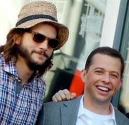 Ashton Kutcher With Jon Cryer Wearing Head Accessory - Straw Hat