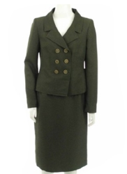 Womens Tailored Suit In Dark Olive