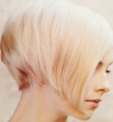 White Blonde Short Asymetrical Haircut