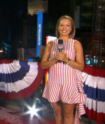 MACY'S FOURTH OF JULY FIREWORKS SPECTACULAR -- Pictured in this screen grab: Dylan Dreyer on the Marriott Rooftop in Times Square, NYC on July 4, 2020 -- (Photo by: NBC)