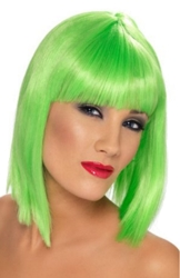 Electric Neon Green Short Blunt Wig From Smiffy's