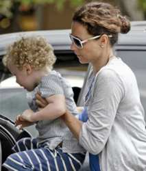 Minnie Driver With Curly Haired Henry