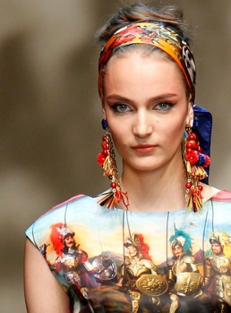 Scarf Updo for 2013 Dolce & Gabbano 2013 Spring Show - Hair By Guido - All Rights Reserved