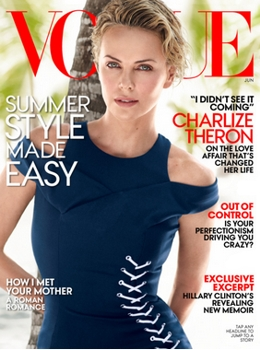 Cover on June 2014 Vogue Magazine with<br /> Cover Star Charlize Theron - Haircolor by Tracey Cunningham for Redken - All Rights Reserved