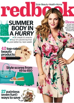 Cover on June 2014 Redbook Magazine with<br /> Cover Star Drew Barrymore Haircolor by Tracey Cunningham for Redken - All Rights Reserved