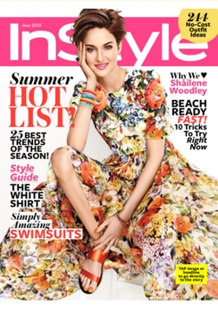 Cover on June 2014 InStyle Magazine with InStyle Cover Star Shailene Woodley - Haircolor by Tracey Cunningham for Redken - All Rights Reserved