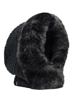 Muffy - Faux fur and knit hood - BLACK – Acrylic and faux fur Chunky knit faux fur hood. Nobis suede wrap label branding.