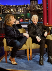 Led Zeppelin band members Robert Plant, Jimmy Page and John Paul Jones share a laugh with Late Show host David Letterman oduring Monday's 12/3 show taping in New York. Photo: John Paul Filo/CBS ©2012 CBS Broadcasting Inc. All Rights Reserved