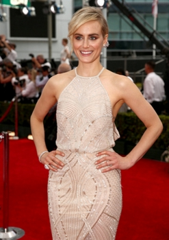 August 25, 2014 66th ANNUAL PRIMETIME EMMY AWARDS -- Pictured: Actress Taylor Schilling arrives to the 66th Annual Primetime Emmy Awards held at the Nokia Theater on August 25, 2014 -- (Photo by: Christopher Polk/NBC) The 66th Primetime Emmy Red Carpet Special (7:30-8 p.m. ET / 4:30 p.m. PT LIVE) 2014 NBCUniversal Media, LLC