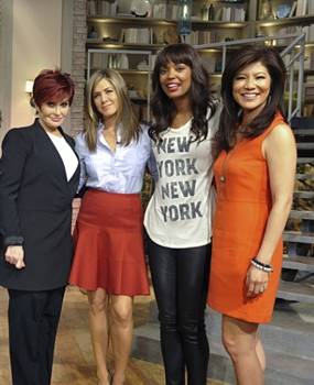 """Emmy Award-winning actress Jennifer Aniston discusses her new film on """"The Talk,"""" Wednesday, November 26, 2014 on the CBS Television Network. From left,  Sharon Osbourne, Jennifer Aniston, Aisha Tyler and Julie Chen, shown. Photo: Darren Michaels/CBS ©2014 CBS Broadcasting, Inc. All Rights Reserved"""