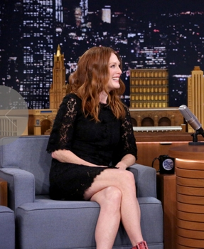 November 21, 2014 THE TONIGHT SHOW STARRING JIMMY FALLON -- Episode 0168 -- Pictured: (l-r) Actress Julianne Moore - November 21, 2014 - (Photo by: Douglas Gorenstein/NBC) Friday, November 21 on NBC (11:35 p.m.-12:35 a.m.) 2014 NBCUniversal Media, LLC