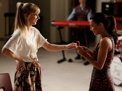 Santana & Brittany Wearing Slicked Back Ponytails - Proposal