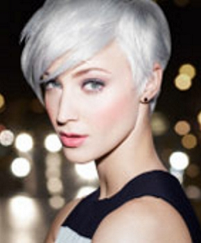 Short Platinum White Blonde Layered Hair - Redken - All Rights Reserved