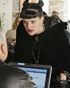 """Toxic""--Abby (Pauley Perrette in Bantu Knots) on NCIS on the CBS Television Network. Photo: Cliff Lipson/CBS ©2009 CBS BROADCASTING INC. All Rights Reserved"