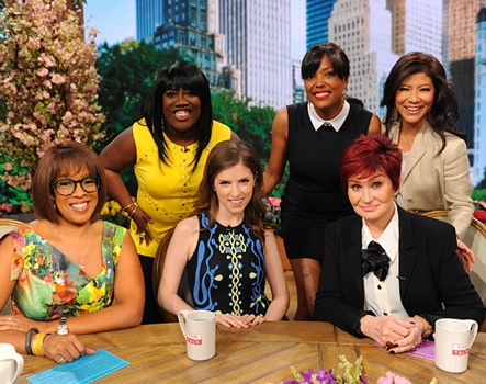 "Anna Kendrick discusses her new film ""Pitch Perfect 2"" with the ladies of The Talk - CBS Television Network. (L-R) Gayle King, Sheryl Underwood, Anna Kendrick, Aisha Tyler, Sharon Osbourne and Julie Chen, shown. Photo: Heather Wines/©2015 CBS Broadcasting Inc. All Rights Reserved"