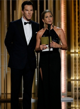 January 11, 2015 72nd Annual Golden Globe Awards - Pictured: (l-r) Benedict Cumberbatch, Jennifer Aniston, Presenters at the 72nd Annual Golden Globe Awards held at the Beverly Hilton Hotel on January 11, 2015 -- (Photo by: Paul Drinkwater/NBC) Sunday, January 11, 2015 (LIVE 5-8 p.m. PT/8-11 p.m. ET) 2015 NBC Universal Media, LLC