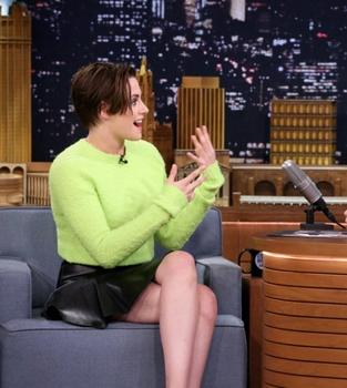 Actress Kristen Stewart during an interview with host Jimmy Fallon on October 7, 2014 -- (Photo by: Douglas Gorenstein/NBC)