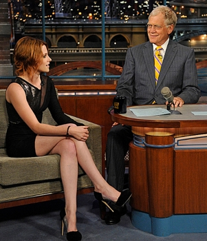 Kristen Stewart from Twilight, talks with Dave during the Monday June 28, 2010 taping of the Late Show with David Letterman on the CBS Television Network. Photo: John Paul Filo/CBS ©2010 CBS Broadcasting Inc. All Rights Reserved