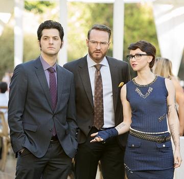 Ben Schwartz as Clyde Oberholt, Josh Lawson as Doug Guggenheim and Valorie Curry as Kelsey in House of Lies (Season 4, Episode 5). - Photo: Michael Desmond/SHOWTIME