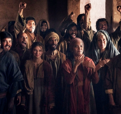 """A.D. THE BIBLE CONTINUES -- """"The Wrath"""" Episode 104 Pictured: (l-r) Denver Isaac as James, Babou Ceesay as John, Pedro Lloyd Gardiner as Matthew, Fraser Ayres as Simon the Zealot, Helen Daniels as Maya, Chipo Chung as Mother Mary, Reece Ritchie as.Stephen -- (Photo by: Joe Alblas/Lightworkers Media/NBC)  Sundays on NBC (9-10 p.m. ET)"""