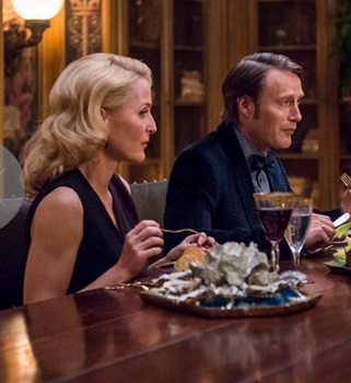 (l-r) Gillian Anderson as Bedelia Du Maurier, Mads Mikkelsen as Hannibal Lecter -- (Photo by: Brooke Palmer/NBC) Hannibal - All Rights Reserved