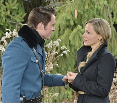 """Julie Benz - DEFIANCE -- """"All Things Must Pass"""" Pictured: (l-r) James Murray as Niles Pottinger, Julie Benz as Amanda Rosewater -- (Photo by: Ben Mark Holzberg/Syfy)  Thursday, August 28 on Syfy (8-9 p.m. ET)"""