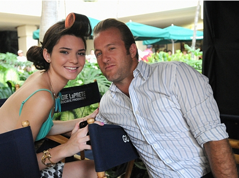Reality star Kendall Jenner on HAWAII FIVE-0 set, on the CBS Television Network with Scott Caan who plays Danny. Photo: Norman Shapiro/CBS ©2012 CBS
