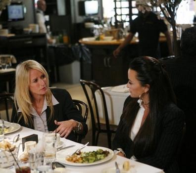 "Kim Richards &amp; Sister Kyle 0n THE REAL HOUSEWIVES OF BEVERLY HILLS-- ""The Real Housewives of Beverly Hills- New York City"" -- Pictured: (l-r) Kim Richards, Kyle Richards - Photo by: Jason DeCrow/Bravo<br />"